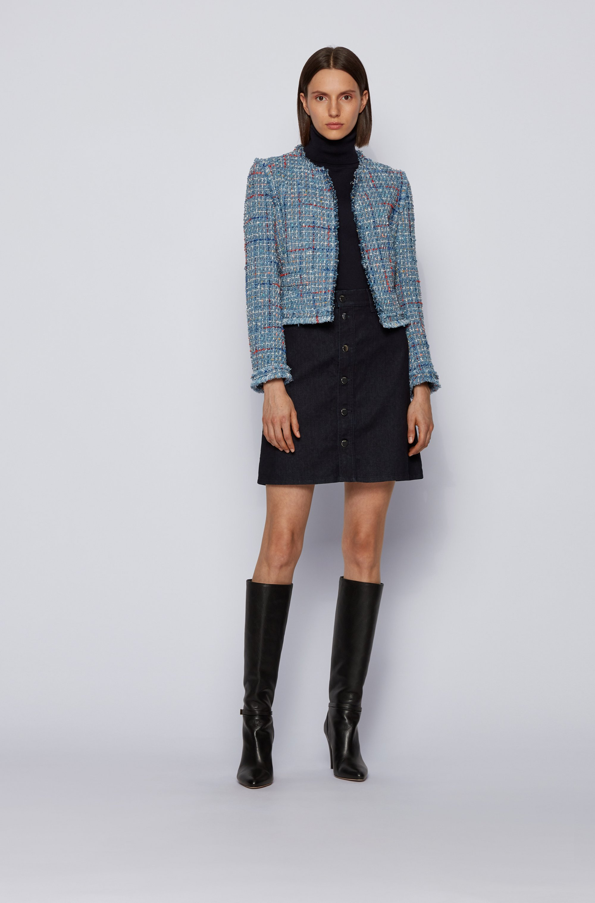 A-line skirt in comfort-stretch denim with buttoned front