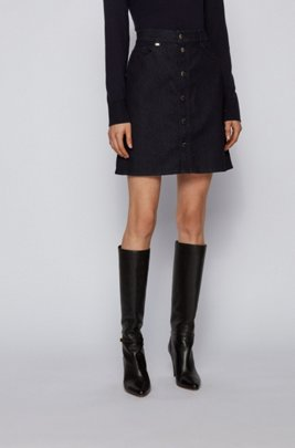 A-line skirt in comfort-stretch denim with buttoned front, Dark Blue