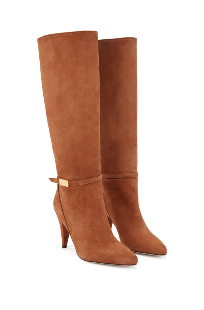 Knee-high boots in Italian suede with monogram hardware