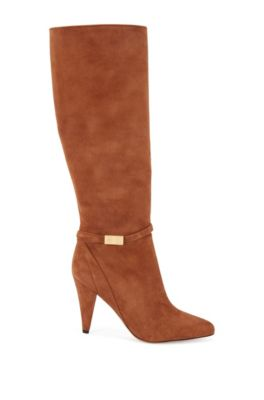 Knee-high boots in Italian suede with monogram hardware, Brown