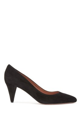 Italian-made pumps in suede with cone heel, Black