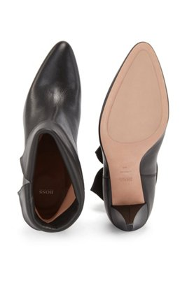 Ankle boots in Italian leather with turn-over collar, Black