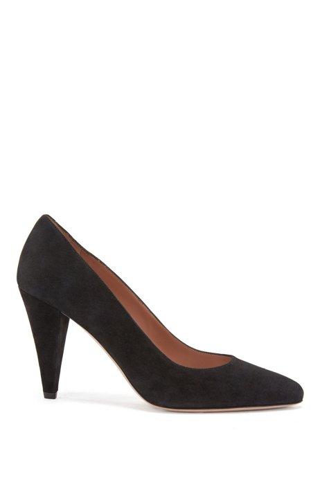 Pumps in Italian suede with 9cm cone heel, Black