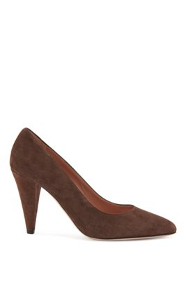 Pumps in Italian suede with 9cm cone heel, Dark Brown
