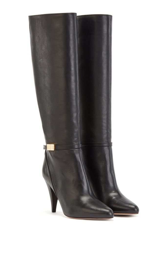 Knee-high boots in Italian leather with monogram hardware