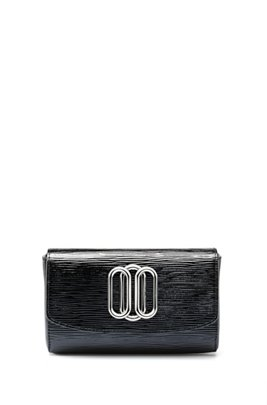 Patent-leather belt bag with signature hardware, Black