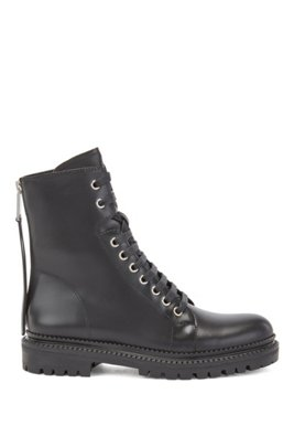 Biker-inspired boots in smooth Italian leather, Black