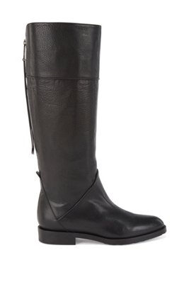 Knee-high boots in Italian leather with statement zip, Black
