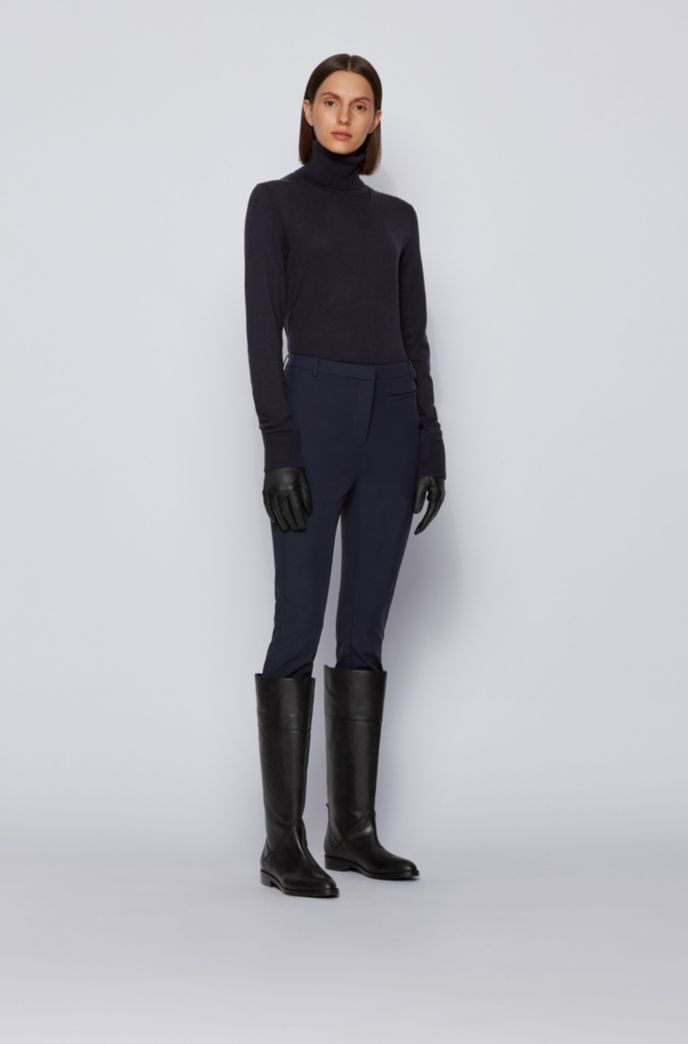 Knee-high boots in Italian leather with statement zip