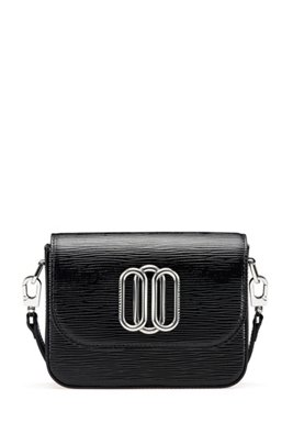 Cross-body bag in patent leather with signature hardware, Black
