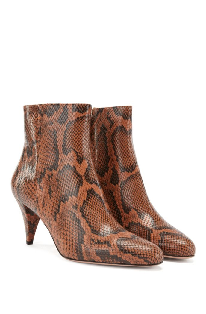 Ankle boots in python-print Italian leather