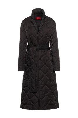 Lange gewatteerde mantel met reflecterende logopatch, Zwart