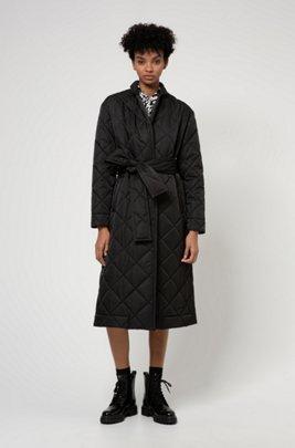 Manteau long matelassé avec patch logo réfléchissant, Noir