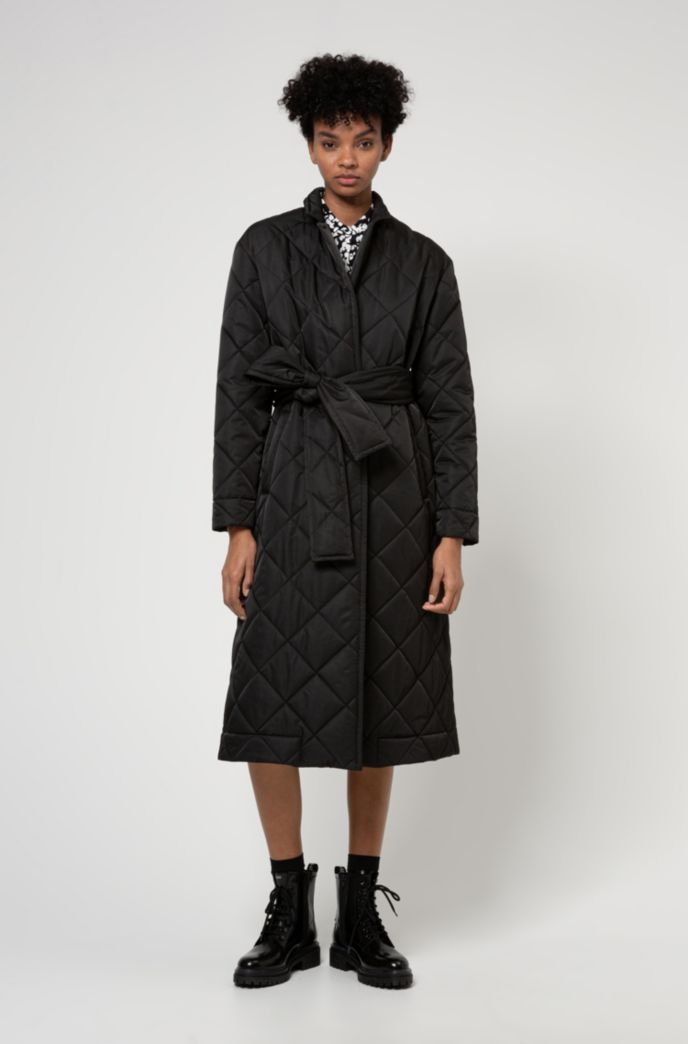 Long-line padded coat with reflective logo patch