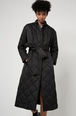 Long-line padded coat with reflective logo patch, Black