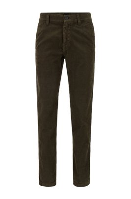 Tapered-fit trousers in garment-dyed cotton corduroy, Dark Green