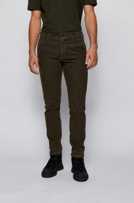 Tapered-Fit Hose aus stückgefärbtem Baumwoll-Cord, Dunkelgrün