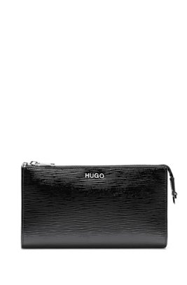 Mini bag in patent leather with chain strap, Black