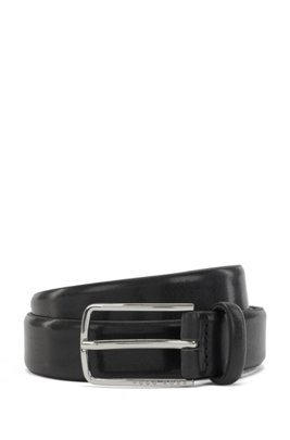 Smooth leather belt with silver-tone buckle, Black