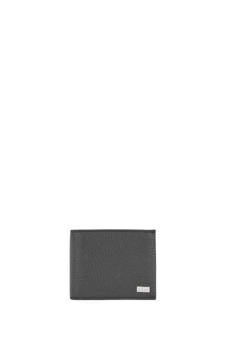 Portafoglio tri-fold in pelle martellata italiana con taschino portamonete, Nero