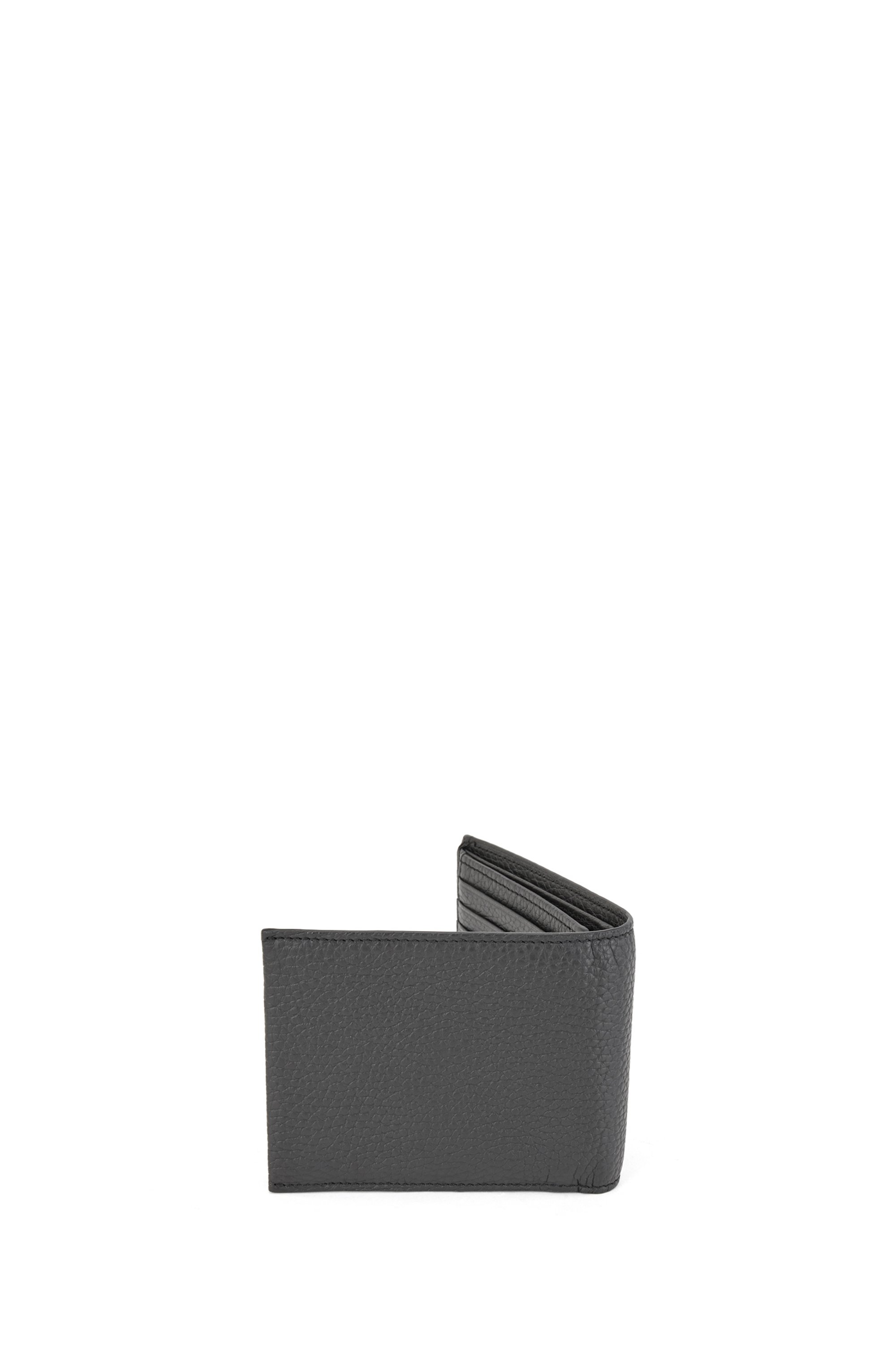 Trifold wallet in grained Italian leather with coin pocket