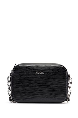 Cross-body bag in patent leather with logo lettering, Black