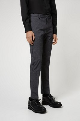 Slim-fit chinos in micro-patterned stretch fabric, Dark Grey