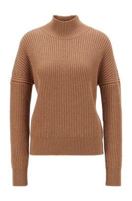 Oversized-fit mock-neck sweater in virgin wool, Light Brown