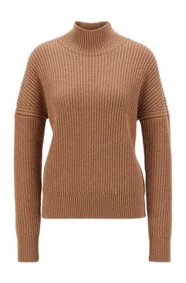 Oversized Pullover aus Schurwolle mit Stehkragen, Hellbraun