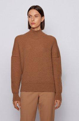 Oversized-fit mock-neck sweater in virgin wool, Light Brown