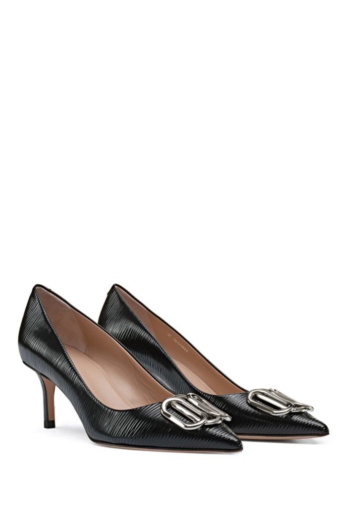 Printed patent-leather pumps with signature hardware