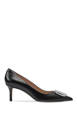 Printed patent-leather pumps with signature hardware, Black
