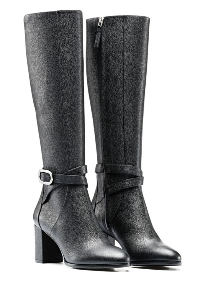 Grained Italian-leather knee boots with signature hardware