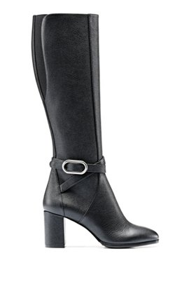 Grained Italian-leather knee boots with signature hardware, Black
