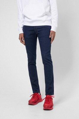 Extra-slim-fit jeans in dark-blue stretch denim, Dark Blue