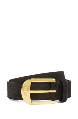 Italian-made suede belt with gold-toned buckle, Black