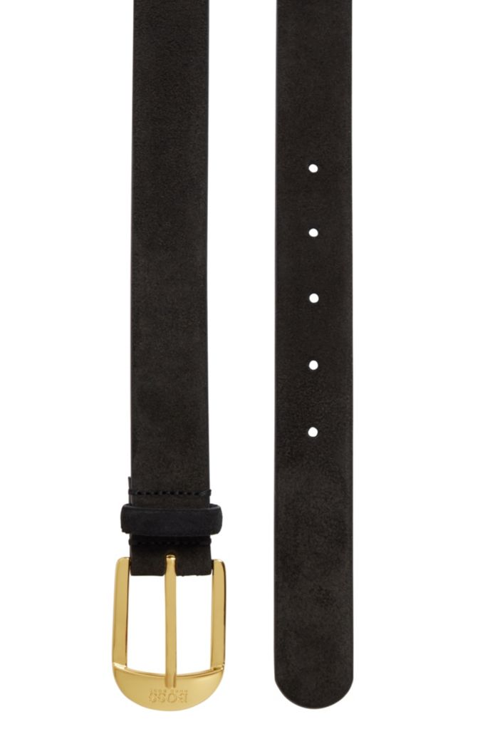Italian-made suede belt with gold-toned buckle