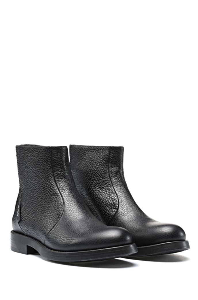 Biker boots in grained leather with heel logo