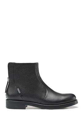 Biker boots in grained leather with heel logo, Black