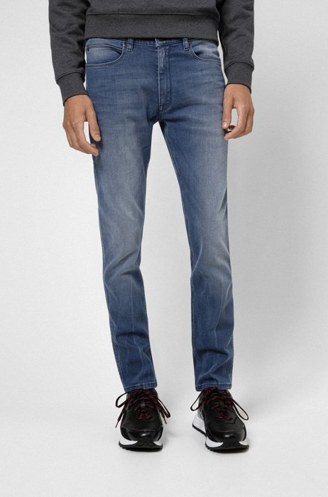 Extra Slim-Fit Jeans aus mittelblauem Stretch-Denim, Blau