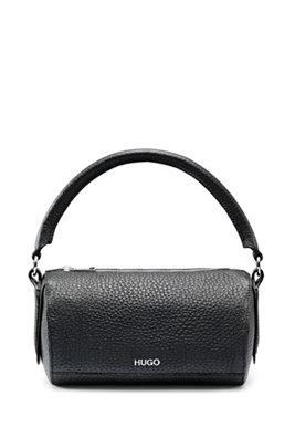 Cross-body bag in grained leather with detachable strap, Black
