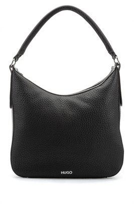Hobo bag in grained leather with detachable shoulder strap, Black