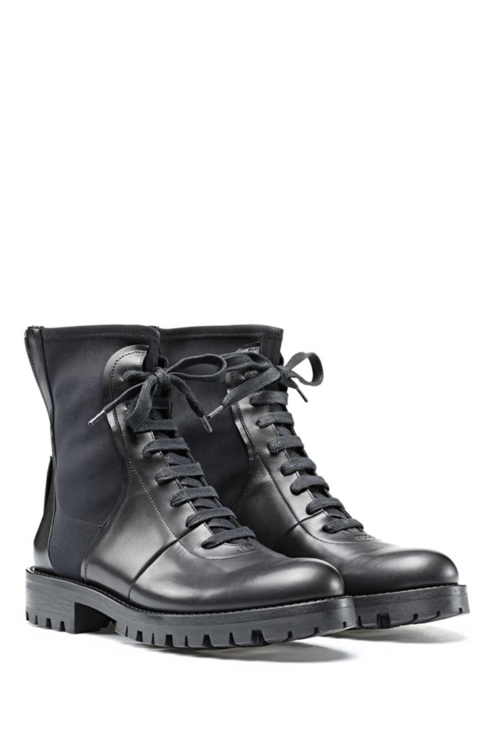 Italian-leather boots with counter logo