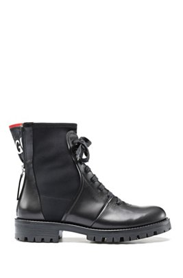Italian-leather boots with counter logo, Black