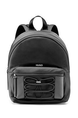 Backpack in nylon twill with drawstring detail, Black