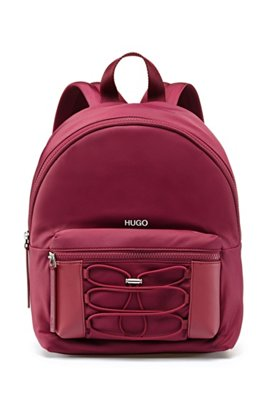 Backpack in nylon twill with drawstring detail, Red