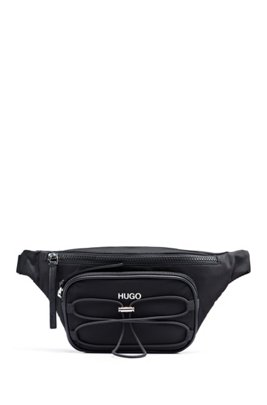 Belt bag in nylon twill with drawstring detail, Black
