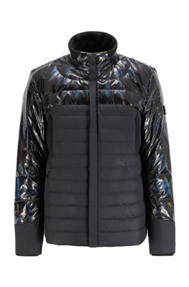 Hybrid down jacket with water-repellent finish, Black