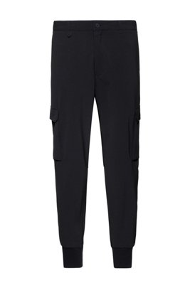 Slim-fit cargo trousers in stretch twill, Black