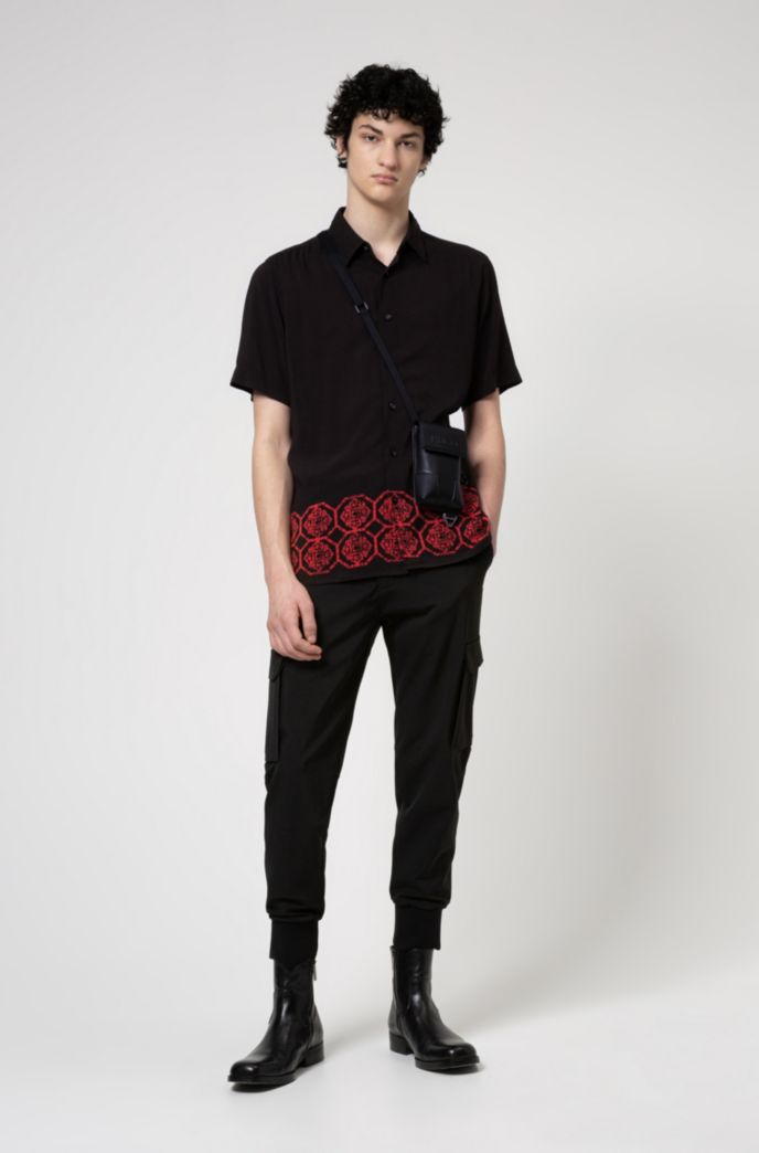 Slim-fit cargo trousers in stretch twill